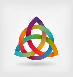 triquetra symbol in rainbow colors vector image vector image