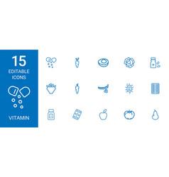 15 vitamin icons vector