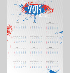 2019 calendar calendar modern design template vector image