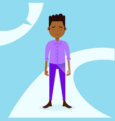 African teen boy character grieved hold phone male vector