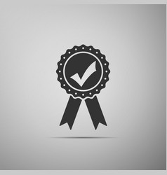 Approved or certified medal with ribbons vector