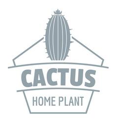 art cactus logo simple gray style vector image