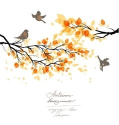 Autumn branch and birds vector