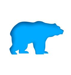 Bear cut paper animal vector