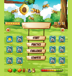 Bee in nature game template vector