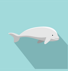 beluga whale icon flat style vector image