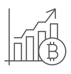 bitcoin chart thin line icon finance and economy vector image
