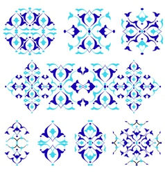 Blue oriental border and ornament nineteen vector