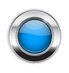 blue round button glass 3d shiny icon with wide vector image