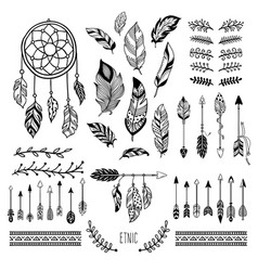 Boho art tribal arrow feather bohemian floral vector