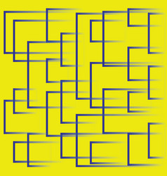 bright yellow background with blue dynamic squares vector image