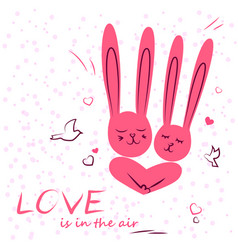 Bunny in love enamored funny rabbits on a date vector