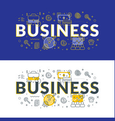Business flat line concept for web banner and vector