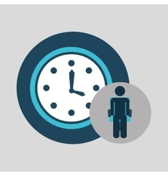 Business silhouette man clock time vector