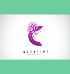 c letter logo design with purple colors vector image