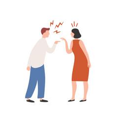 Cartoon couple scream each other having conflict vector