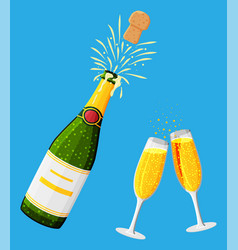 champagne bottle opening with pop and cork flying vector image