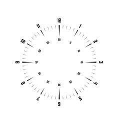 Clock face hour dial with numbers dashes mark vector