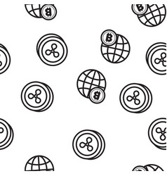 cryptocurrency icon seamless pattern vector image