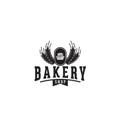 cupcake wheat grain rice bakery logo vector image