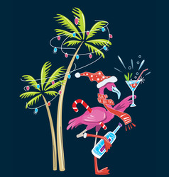 cute flamingo year vector image