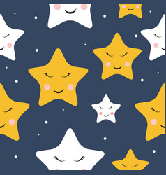 Cute star night seamless pattern background vector