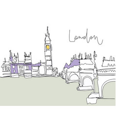 Digital drawing of london bridge on river vector