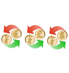 Exchange riel to euro pound sterling and dollar vector