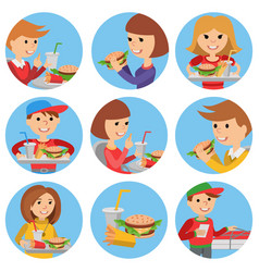 Fast food restaurant people icons isolated vector