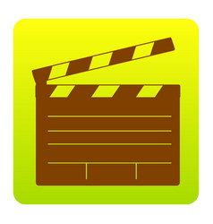 Film clap board cinema sign brown icon at vector