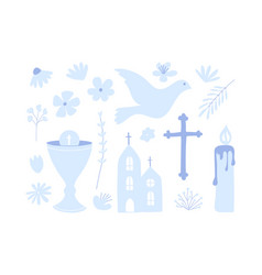 First holy communion set icon christianity vector
