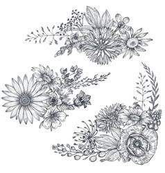 Floral bouquets with herbs and wildflowers vector