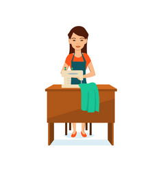 girl in apron seamstress sitting at table vector image