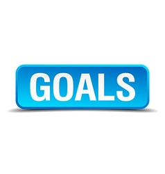Goals blue 3d realistic square isolated button vector