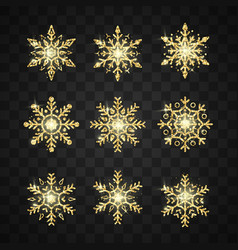 golden snowflake set new year and christmas vector image