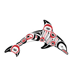 haida dolphin tattoo ornament in haida style vector image