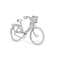 hand drawing bicycle doodle style vector image