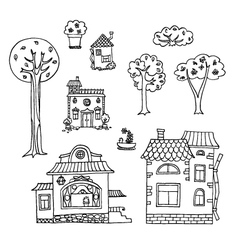 Hand-drawn house and tree doodles collection vector