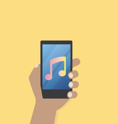 Hand with music icon on mobile phone vector