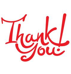 handwritten lettering inscription thank you vector image