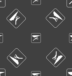 Hang-gliding sign Seamless pattern on a gray vector