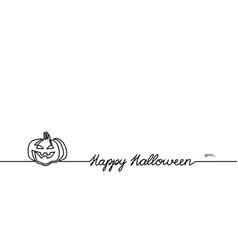 happy halloween smiling pumpkin outline vector image