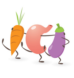 happy stomach dancing with vegetables vector image