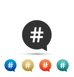 hashtag in circle icon on white background vector image