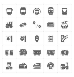 icon set - train and transportation filled st vector image