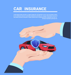 Insurance service hand protective gesture car vector