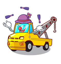 Juggling tow truck for vehicle branding character vector
