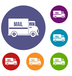 mail truck icons set vector image