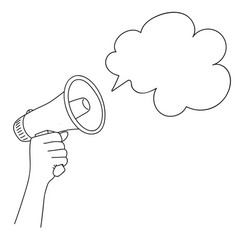 Man hand holding megaphone announcement with cloud vector