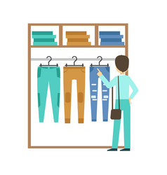 man shopping for clothes at clothing store vector image